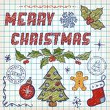 Von Hand gezeichnet Weihnachtsgekritzel. Beschriftung Lizenzfreie Stockfotos