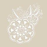 Von Hand gezeichnete abstrakte Henna Mehndi Flower Ornament Stockbild