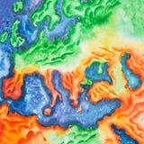 Von Hand gezeichnete Aquarellillustration der topographischer Karte von Europa Ansicht zur Erde vom Raum Stockfotografie