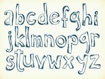 Von Hand gezeichnete Buchstaben des Alphabetes Stockbild