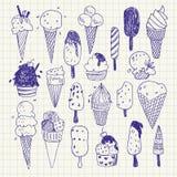Von Hand gezeichnete Eiscreme-Vektorzeichnungen eingestellt Lizenzfreie Stockfotos