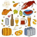 Von Hand gezeichnete flüchtige Gekritzelsammlung des Bieres lizenzfreie abbildung