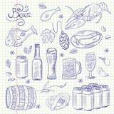 Von Hand gezeichnete flüchtige Gekritzelsammlung des Bieres stock abbildung