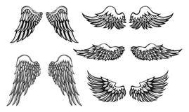 Von Hand gezeichnete Flügel, Vektorsatz Stockfoto