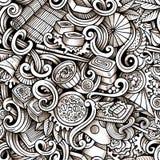 Von Hand gezeichnete Gekritzel der Karikatur des nahtlosen Musters der japanischen Küche Stockfotografie