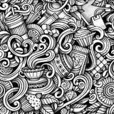 Von Hand gezeichnete Gekritzel Tee der Karikatur und nahtloses Muster des Kaffees Stockfoto