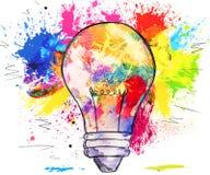 Von Hand gezeichnete Glühlampe über bunten Flecken der Farbe stock abbildung