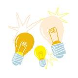 Von Hand gezeichnete Glühlampen, Symbol von Ideen Stockfoto