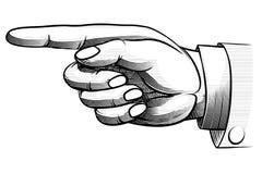 Von Hand gezeichnete Hand der Weinlese, die nach links zeigt Stockbild