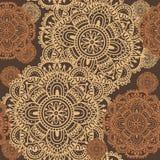 Von Hand gezeichnete Henna Mehndi Abstract Mandala Flowers Lizenzfreies Stockfoto