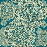 Von Hand gezeichnete Henna Mehndi Abstract Mandala Flowers Stockfotografie