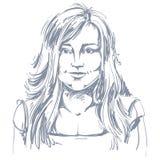 Von Hand gezeichnete Illustration des grafischen Vektors der weißen Haut attraktiv vektor abbildung