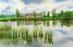 Von Hand gezeichnete Illustration des Hauses durch den Teich lizenzfreie abbildung