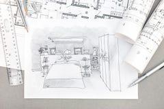 Von Hand gezeichnete Illustration des Schlafzimmerinnenraums mit Ziehwerkzeugen a Lizenzfreies Stockfoto