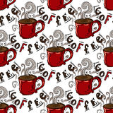 von Hand gezeichnete Illustrationen Ein Tasse Kaffee Nahtloses Muster Stockbilder