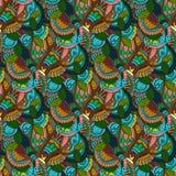 von Hand gezeichnete Illustrationen Farbnatürliche Abstraktion Nahtloses Muster Lizenzfreie Stockfotos