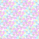 von Hand gezeichnete Illustrationen Mehrfarbige Herzen Die Wortliebe und das Herz von Plätzchen Nahtloses Muster Stockbilder