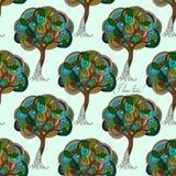 von Hand gezeichnete Illustrationen Zusammenfassung farbige Bäume Ich Liebes-Bäume Nahtloses Muster Stockfotos