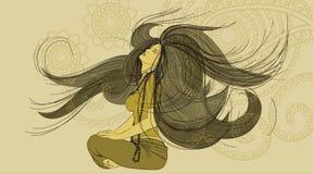 Von Hand gezeichnete junge Frau in einer nachdenklichen Haltung Stockfoto