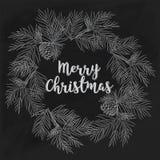 Von Hand gezeichnete Karte der frohen Weihnachten auf Tafel Stockfotografie