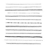 Von Hand gezeichnete Linie Grenzsatz der Tinte. Stockfotos