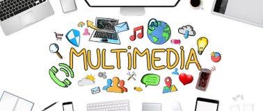 Von Hand gezeichnete Multimediaikonen auf Bürohintergrund Stockfoto