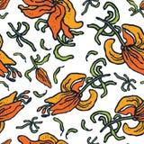 Von Hand gezeichnete nahtlose Mustervektorlilien Stockfotos