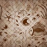 Von Hand gezeichnete Sammlung Weinlese Sepia Muster Stockbilder