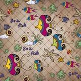 Von Hand gezeichnete Sammlung Weinlese Sepia Muster Stockbild