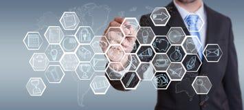 Von Hand gezeichnete Schnittstelle der Geschäftsmannzeichnungs-Multimedia Lizenzfreies Stockbild