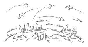 Von Hand gezeichnete Skizze Wege fliegen über die Städte über der Boden-Luftflugfluglinienfahne Hand gezeichnete schwarze Linie Stockbild