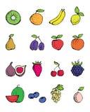 Von Hand gezeichnete Symbole der Frucht Stockfotos