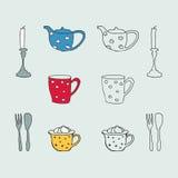 Von Hand gezeichnete Tee-Kaffeesymbole Stockbilder