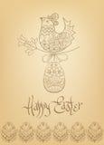 Von Hand gezeichnete Typografie des ethnischen Kükens Ostern-Karte Lizenzfreie Stockbilder