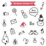 Von Hand gezeichnete Weihnachtsgekritzel auf weißem Hintergrund Lizenzfreie Stockbilder