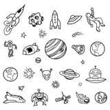 Von Hand gezeichnete Weltraum-Gekritzel Stockbild