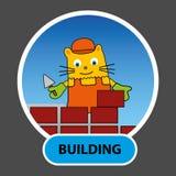 Von Hand gezeichneter Charakter ist eine Katze Gestalten eines Erbauers ein Haus von Ziegelsteinen Stockbilder