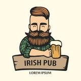 Von Hand gezeichneter Hippie-Geck mit dem Schnurrbart, Bart mit Bier Mann mit Glas Alkohol Kugelkreiserdeplanetenreisenweb-Intern vektor abbildung