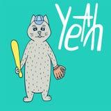 Von Hand gezeichneter Katzenbaseball-spieler mit Beschriftung Stockbild