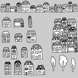 Von Hand gezeichneter Satz des Vektors: Häuser und Immobilien lizenzfreie abbildung