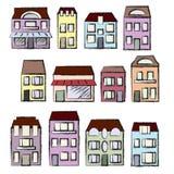 Von Hand gezeichneter Satz des Vektors: Häuser und Immobilien Lizenzfreies Stockbild