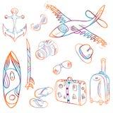 Von Hand gezeichneter Satz Ikonen Sommer und Ferienhintergrund, Vektor lizenzfreie abbildung