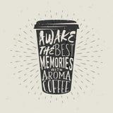 Von Hand gezeichneter Schattenbildpapiertasse kaffee mit Beschriftung Vektor Abbildung