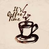 Von Hand gezeichneter Tasse Kaffee Gefärbt mit Kaffeeflecken Vektor Abbildung