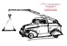 Von Hand gezeichneter Weinlesetransport-Kran-LKW Schnelle Tintenskizze Schwarze Illustration des Vektors Stockfoto