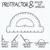 Von Hand gezeichneter Winkelmesser und Winkel Vektor vektor abbildung
