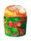 Von Hand gezeichnetes Aquarell Ostern-Kuchens Blühende Bäume auf den Querneigungen des Wicklungflusses Stockfotos