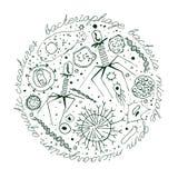 Von Hand gezeichnetes Bild des Virus lizenzfreie abbildung