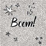 von Hand gezeichnetes Gekritzel der Linie-Kunst mit modernem Kalligraphiewort Boom! Stockbild