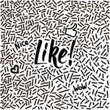 von Hand gezeichnetes Gekritzel der Linie-Kunst mit modernem Kalligraphiewort mögen! stockfotografie